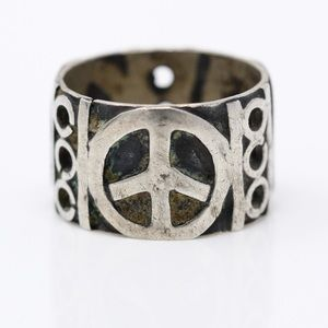 MEXICO VINTAGE Sterling Peace Sign Band Ring 5.5